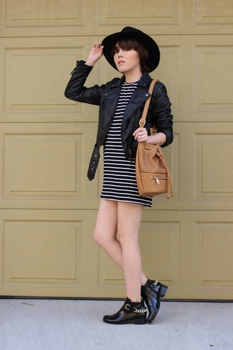 platforms for breakfast blogger ankle boots striped dress perfecto jacket dress hat bag shoes