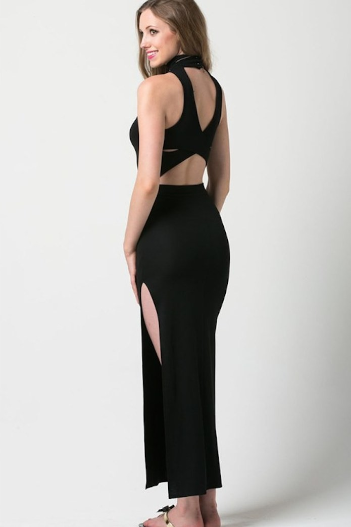 Black High Neck Asymmetric Hem Maxi with Strap Back