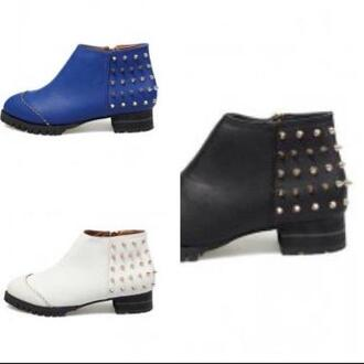 shoes boots studs studded spikes blue cobalt white black ankle bootsa