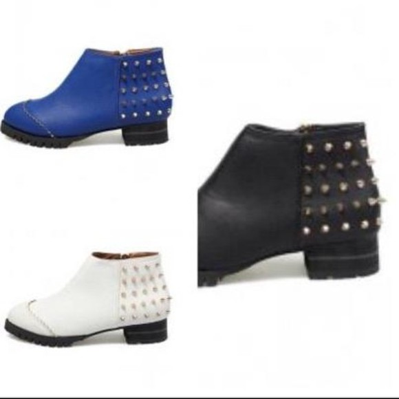 cobalt shoes blue boots studs studded spikes white black ankle bootsa