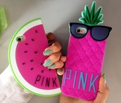 phone cover,i phone case,pinneaple,watermelon print,pink by victorias secret
