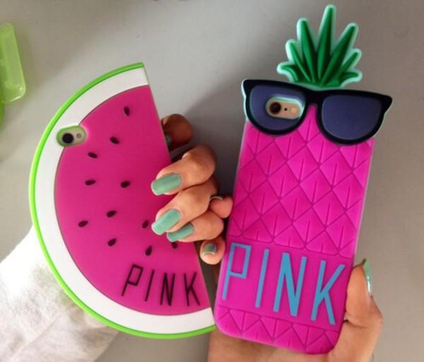 phone cover i phone case pinneaple watermelon print pink by victorias secret