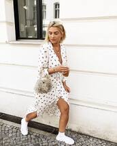 dress,floral dress,midi dress,side split,sneakers,socks,handbag,chain necklace