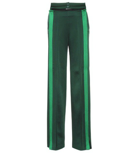 Valentino Striped wide-leg pants in green