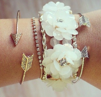 jewels white gold floral bracelets arrow beach wedding