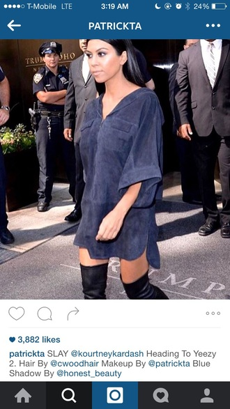 dress blue dress mini dress celebrity style suede dress knee high boots kourtney kardashian keeping up with the kardashians kardashians shirt dress tunic dress boots fashion week shoes