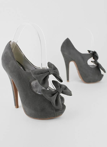 velvet cut-out bow platform $24.70 in GREY RED - Stunning Shoes | GoJane.com
