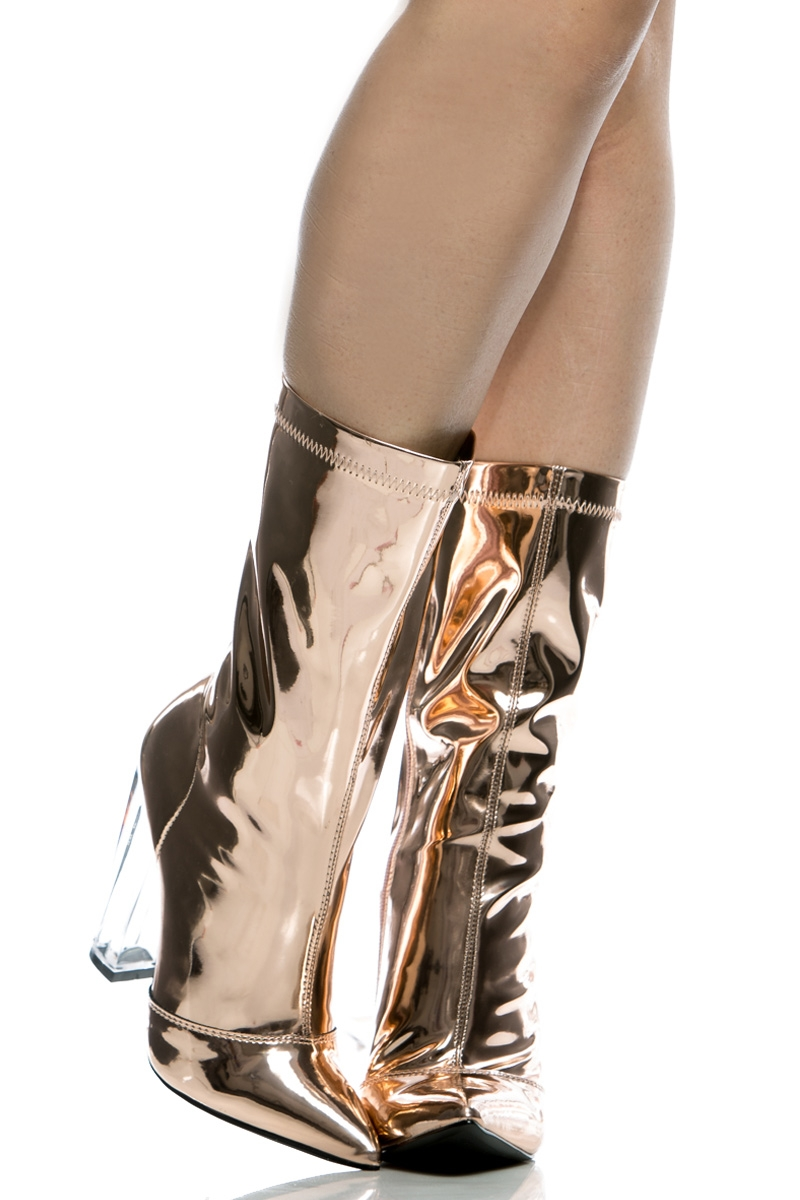 76b42cb95d9 Rose Gold Faux Leather Chunky Translucent Heels @ Cicihot Boots  Catalog:women's winter boots,leather thigh high boots,black platform knee  high ...
