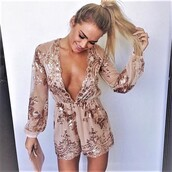 romper,sequin romper,sequins,gold romper,spring outfits,chic