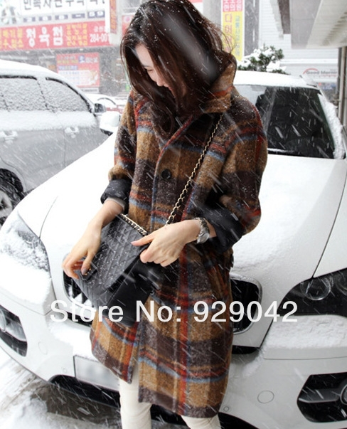2013 new autumn winter fashion British style warm long sleeved plaid paragraph coat wool women woolen jacket Free Shipping-in Wool & Blends from Apparel & Accessories on Aliexpress.com