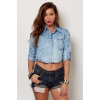 OMG Denim Button Down Crop Top