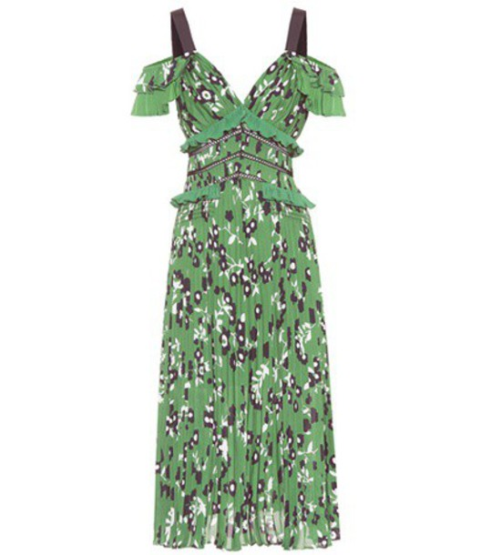 self-portrait dress printed dress cold floral green