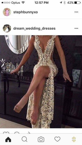 dress gold white silver lace dress gown sexy prom dress plunge v neck white prom dress prom dress