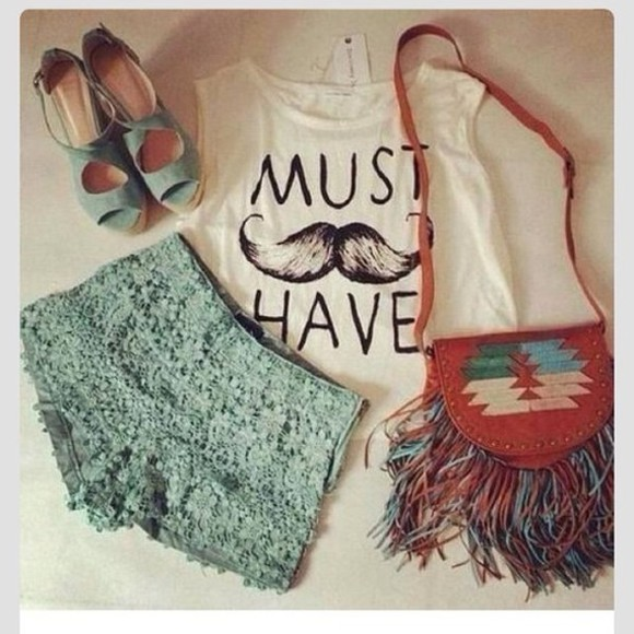 bag mustache shoes summer outfits shorts t-shirt