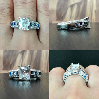 jewels radiant diamond engagement ring blue sapphire engagement ring prong set diamond ring engagement ring fine jewelry wedding ring promise ring
