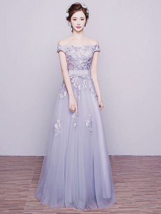 dress a line dress formal dress ball gown dress prom dress grey dress lace dress lace applique long prom dresses