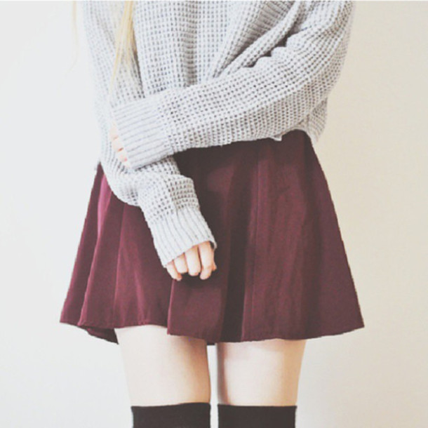 socks skirt burgundy skirt burgundy high waisted skirt sweater beige grey sweater grey cute cute skirt girly cardigan thick knit crochet vintage oversized burgundy cute outfits