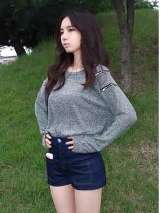 girly blouse grey sweater top gray zipper blous girl ulzzang fall sweater winter sweater