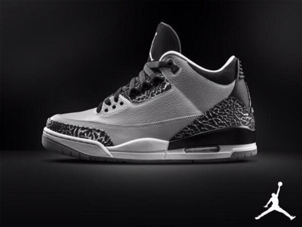huge selection of f8d50 0272b shoes grey color black grey white sneakers jordans air jordan air jordan  retro 3 white sole