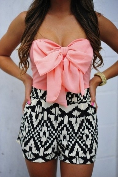 blouse shorts outfit pink bows black shorts white shorts pattern playsuit jewels bow dress jumpsuit cute skirt shirt pink shirt skirt bow chevron romper tribal pattern