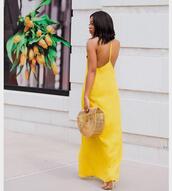dress,tumblr,open back,backless,maxi dress,long dress,yellow,yellow dress,bag,basket bag,open back dresses,backless dress,sexy,sexy dress,handbag