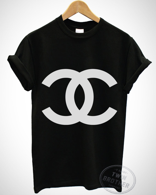 Hot item chanel black t shirt men women t shirts for Chanel logo t shirt to buy