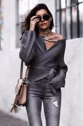 sweater,grey asymmetrical cardigan