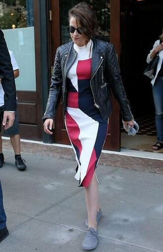 dress kristen stewart flats jacket biker jacket colorblock quilted
