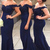 Mermaid Off Shoulder Lace Navy Blue Bridesmaid Dress,Satin Prom Dresses,L84 on Storenvy