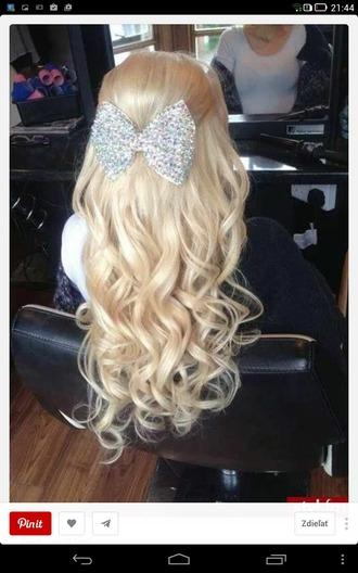 hair accessory glittery silver ribbon cute