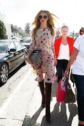 dress,rosie huntington-whiteley,boots,bag,shoes