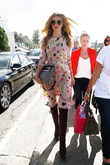 shoes rosie huntington-whiteley bag dress boots