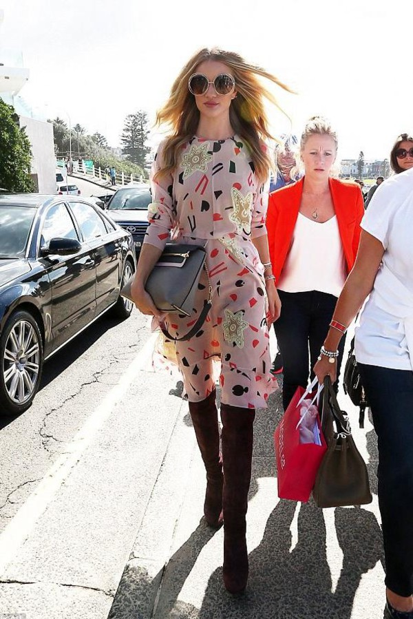 dress rosie huntington-whiteley boots bag shoes