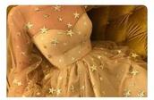 dress,starry,stars,white,off-white,cream,shear,mesh,gold