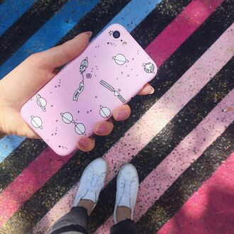 phone cover pink space cute iphone case