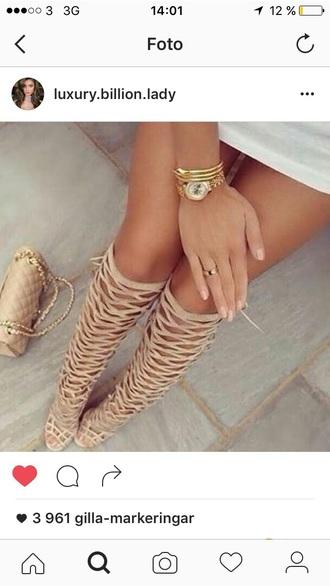 shoes heels knee high beige