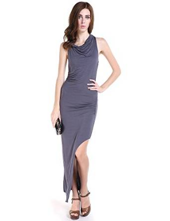 haoduoyi Women's High Slit Cowl Neck Party Maxi Dress at Amazon Women's Clothing store: