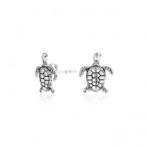 Nautical Hawaiian Sea Turtle Stud Earrings 925 Sterling Silver