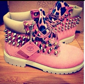 shoes timberland spiked shoes leopard timberlands