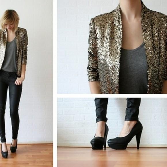 sequins gold jacket glitter gold sequins