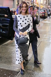 dress,polka dots,leighton meester,midi dress,mules,celebrity,asymmetrical,black and white,fall outfits