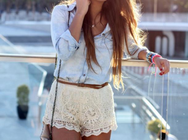 shirt shorts blouse white lace shorts jacket lace boho bohemian lace shorts button up shirt pants cute outfits top clothes tumblr outfit denim denim jacket crochet shorts white shorts