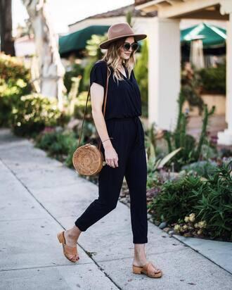 jumpsuit black jumpsuit tumblr sandals flat sandals slide shoes bag round bag shoes