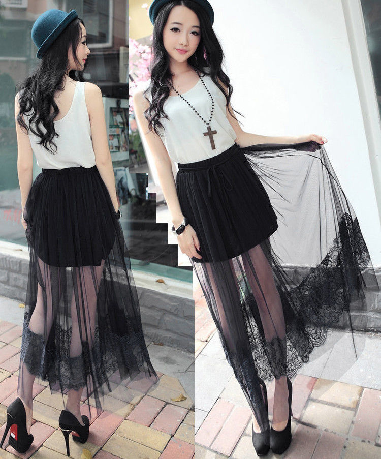 High Waisted See Through Skirt - Dress Ala