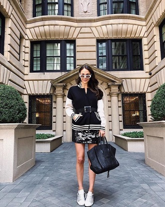 jacket black jacket teddy jacket bomber jacket skirt mini skirt sneakers white sneakers low top sneakers