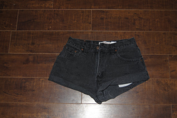Black levis denim cut off shorts by krimsonwave on etsy