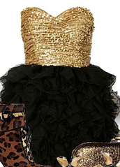 gold,sequins,gold sequins,black,ruffle skirt,ruffle,christmas,sweetheart,strapless,black and gold,dress