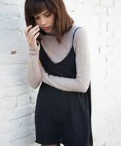 dress,black cami dress,slip dress,spaghetti straps dress,spaghetti strap,black dress,mini dress,top,turtleneck,long sleeves,grey top,tights,fall outfits,back to school