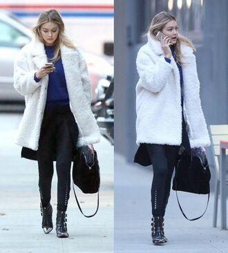 coat winter coat gigi hadid faux fur faux fur coat
