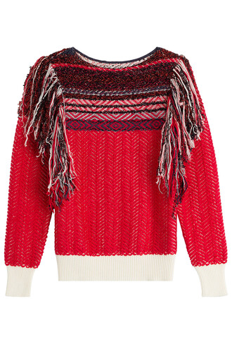 pullover knit red sweater